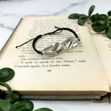 Load image into Gallery viewer, Black Cord Bracelet - Silver Crystal Jewelry - Gift for Special Person