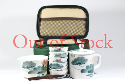 Hand-Painted Ceramic Tea Set w/ Travel Bag