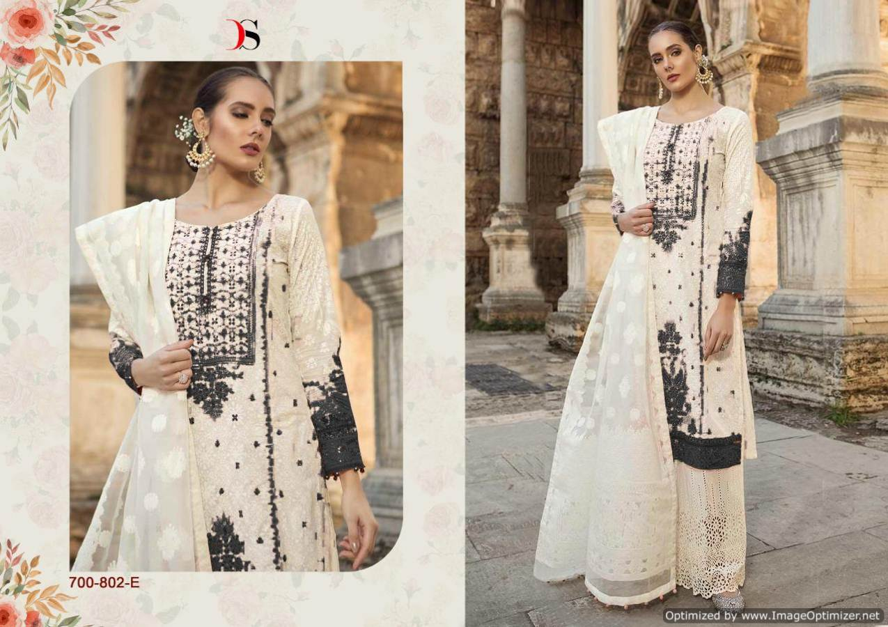 Maria b Lawn 19 Silver Pakistani Suits 700-802-E