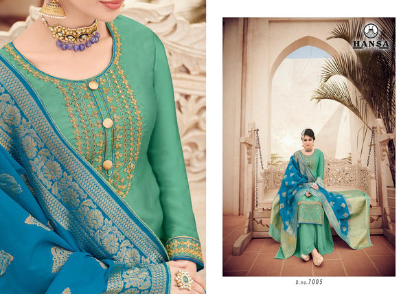 Hansa Banarasi Vol 7 Embroidered Colorful Designer Suits 7005