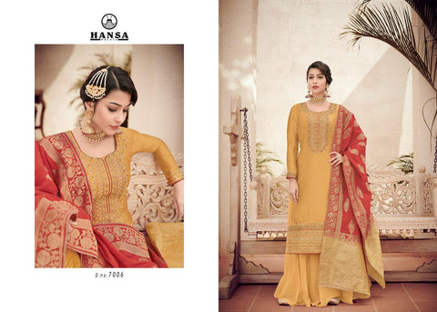 Hansa Banarasi Vol 7 Embroidered Colorful Designer Suits 7006