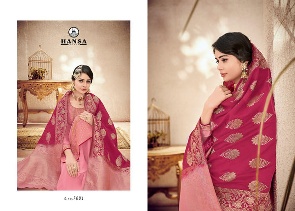 Hansa Banarasi Vol 7 Embroidered Colorful Designer Suits 7001