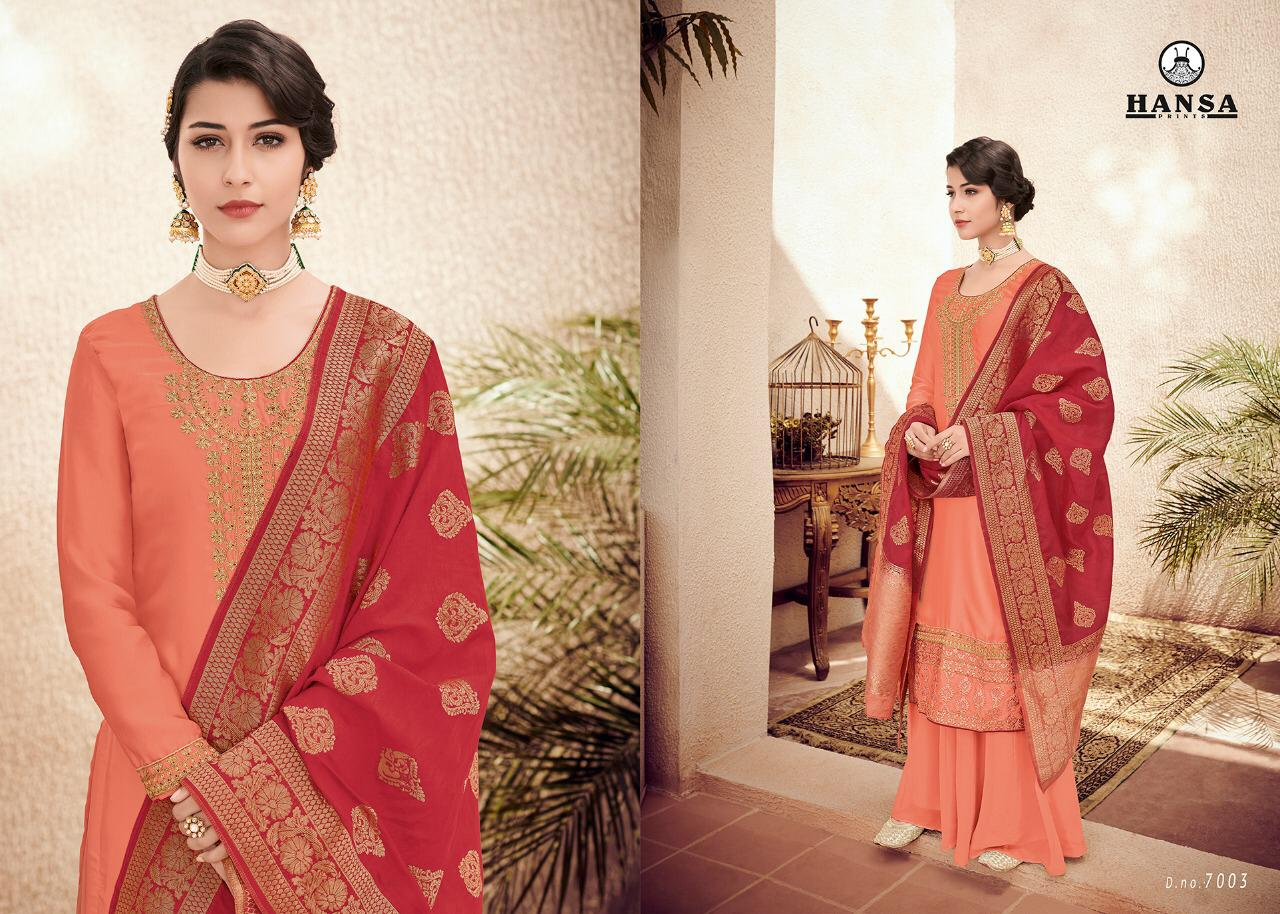 Hansa Banarasi Vol 7 Embroidered Colorful Designer Suits 7003