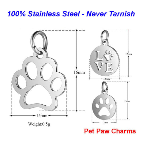Stainless Steel Pet Paw Charms VNISTAR High Polished
