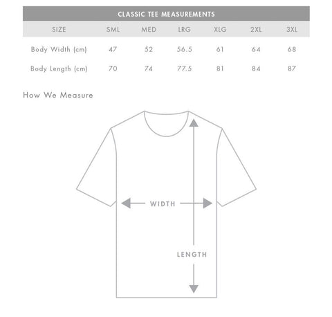 Mendl Movement Size Chart Tee