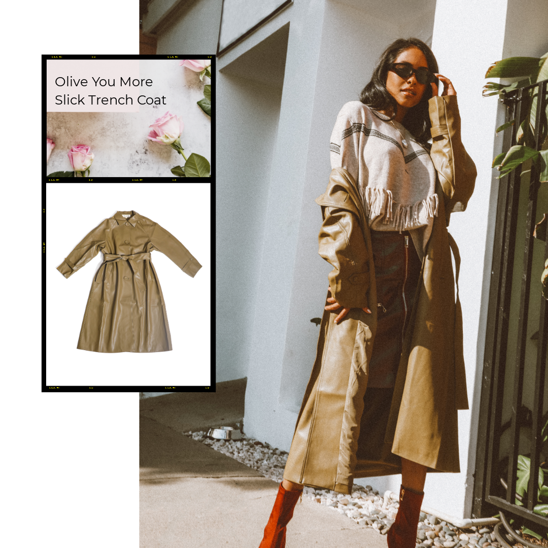 MUSE FASHION Olive You More Slick Trench Coat