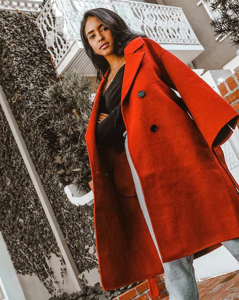 M.USE FASHION RED WOOL COAT