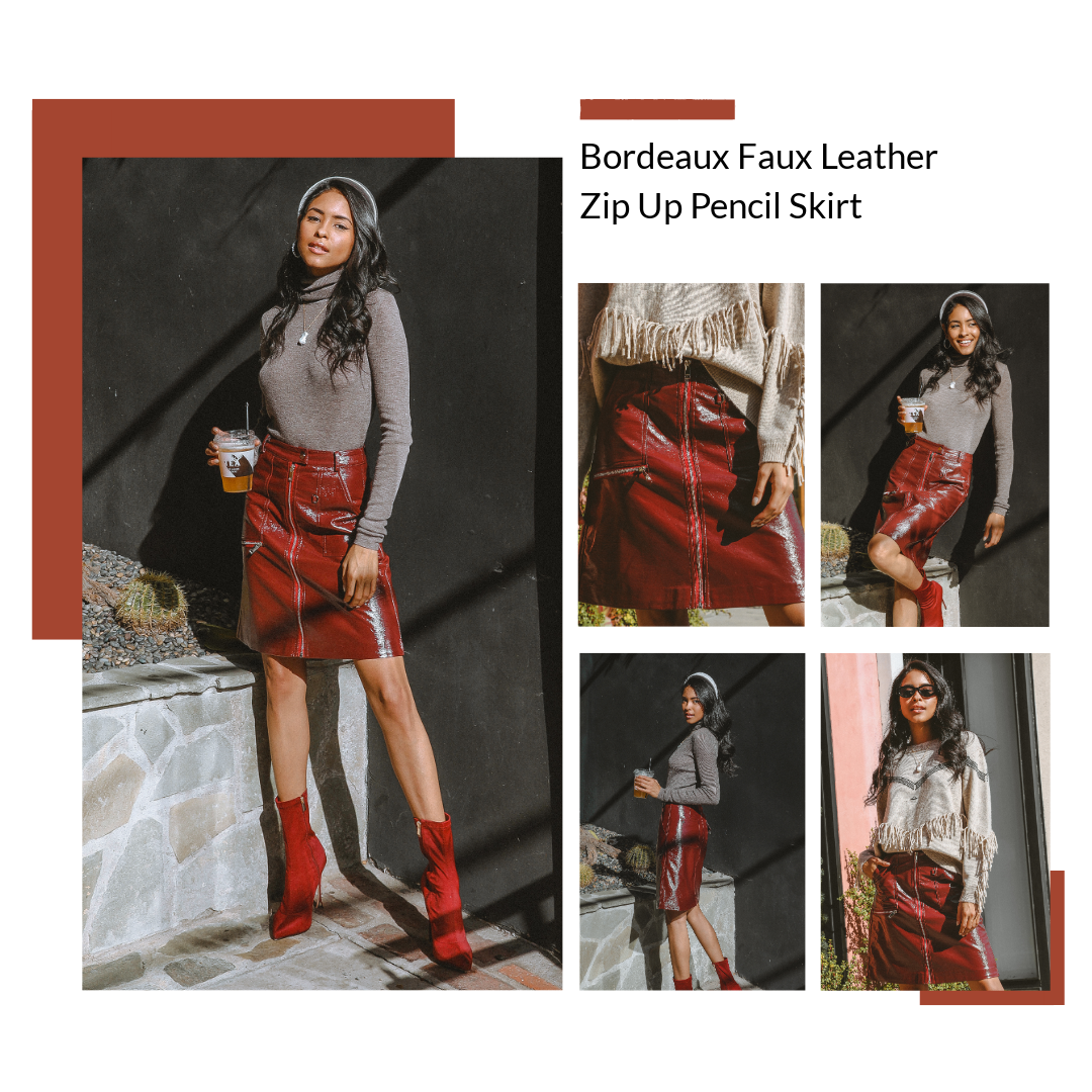 Bordeaux Faux Leather Zip Up Pencil Skirt by MUSE Fashion