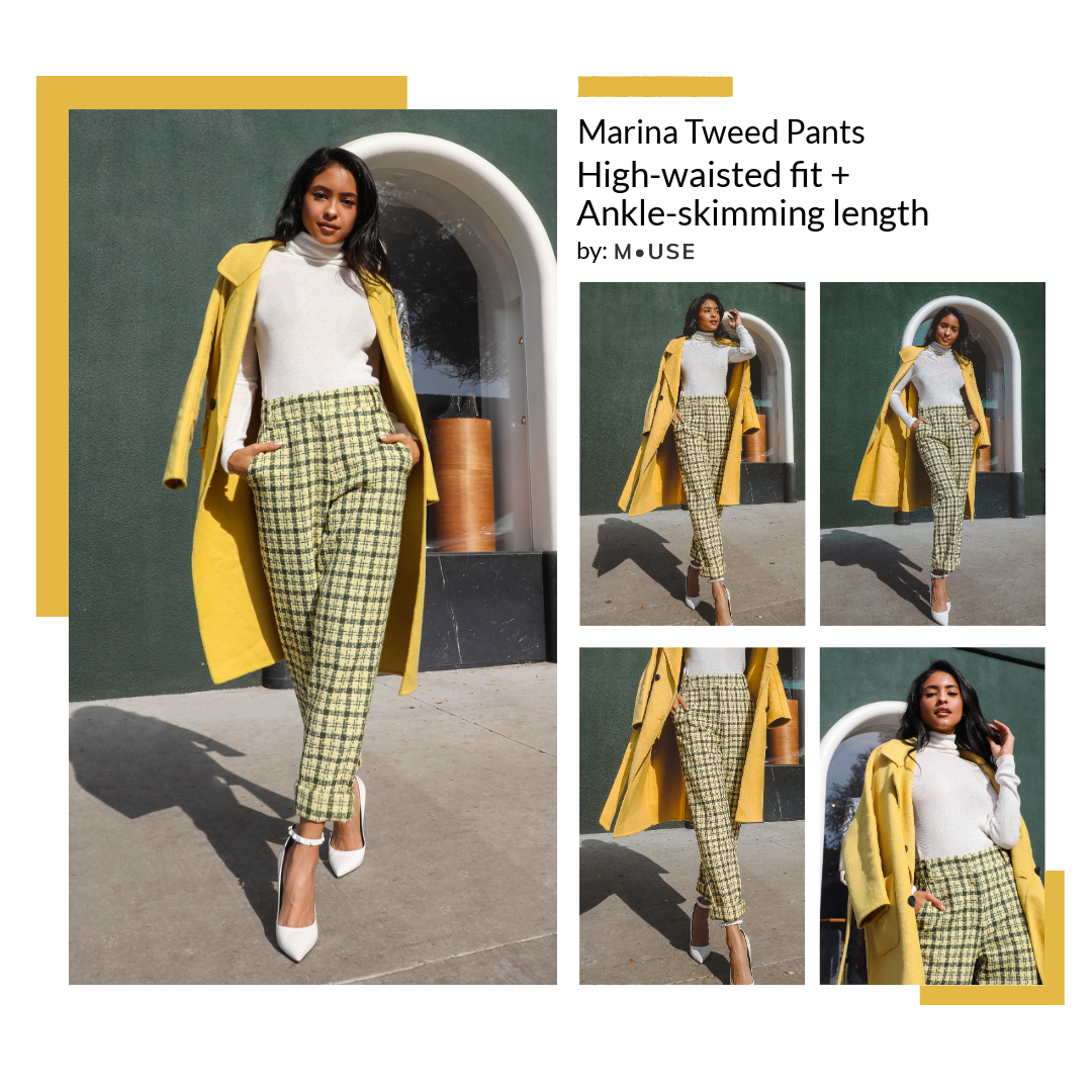 M.USE Fashion Plaid Tweed Pants