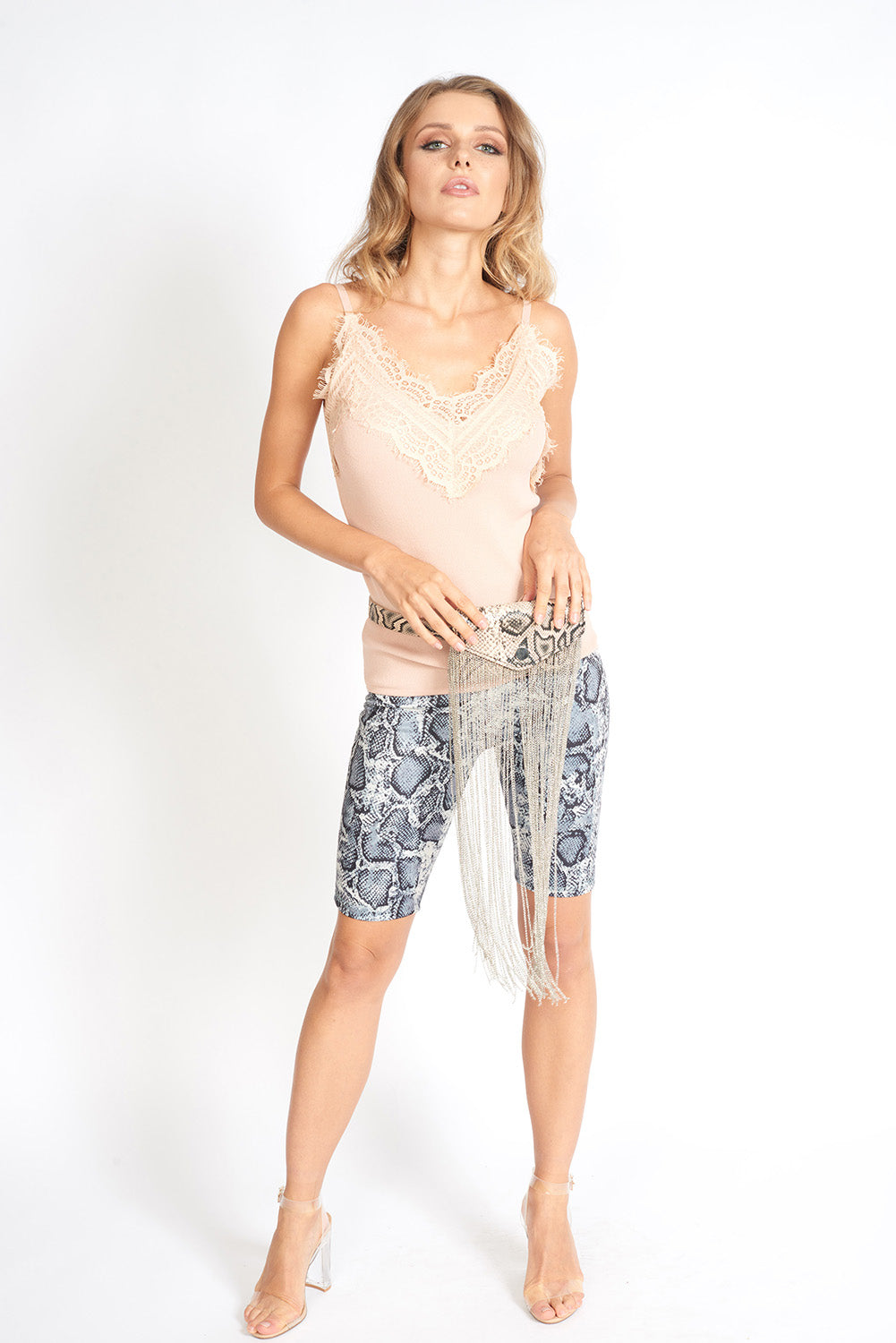 MUSE Fashion Snake Print Biker Shorts