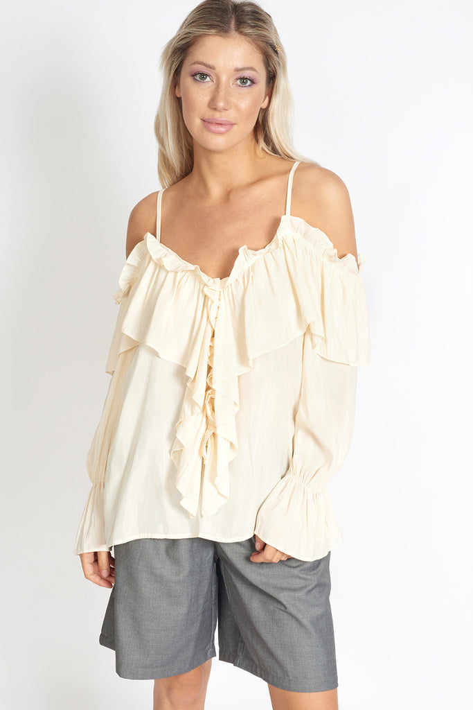 Venice Frill Off Shoulder Strap Chiffon Blouse by MUSE Fashion