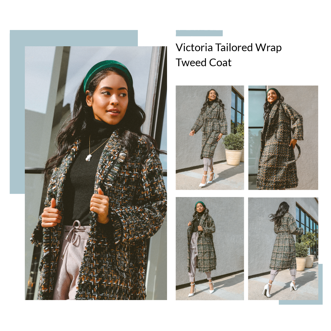 M.USE Fashion Tweed Warp Winter Trench Coat