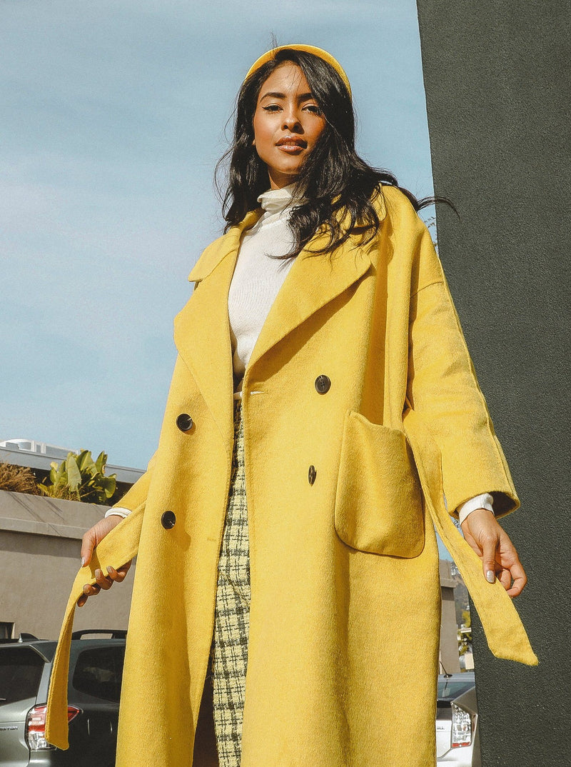 Serena Double Breasted Trench Coat Clothing m-usefashion S Yellow