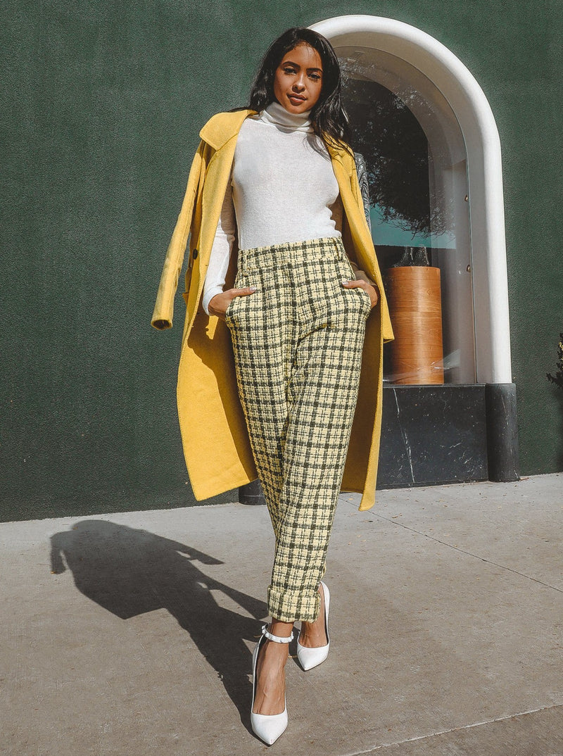 Marina High Waisted Tweed Pants Clothing m-usefashion