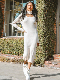 Jasmine Turtleneck Knit Dress Clothing m-usefashion