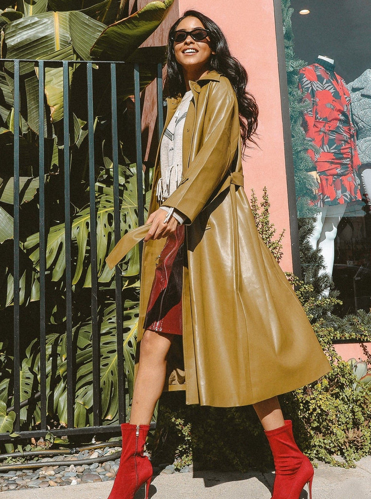 Olive You More Slick Trench Coat by MUSE Fashion