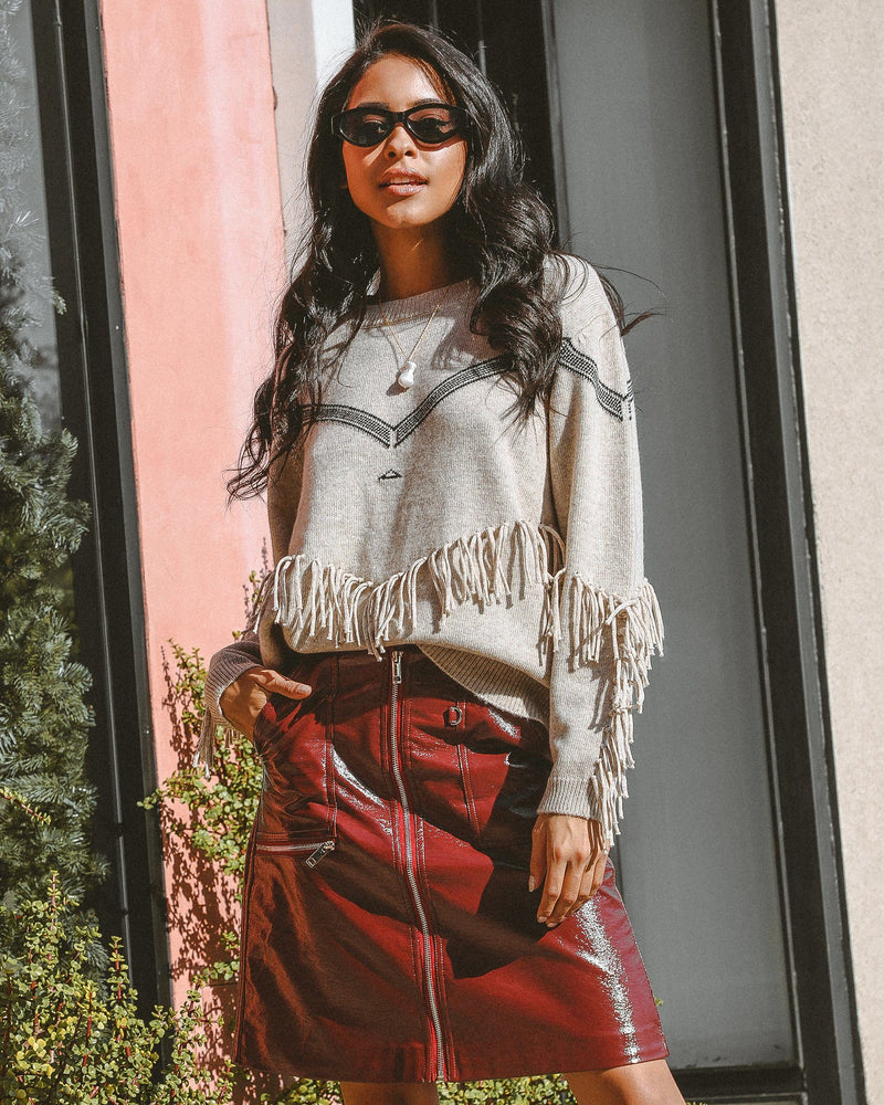 Big Sur Wool Sweater With Fringe Clothing m-usefashion