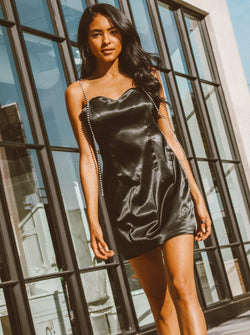 Carlotta Satin Slip Mini Dress Clothing m-usefashion S Black
