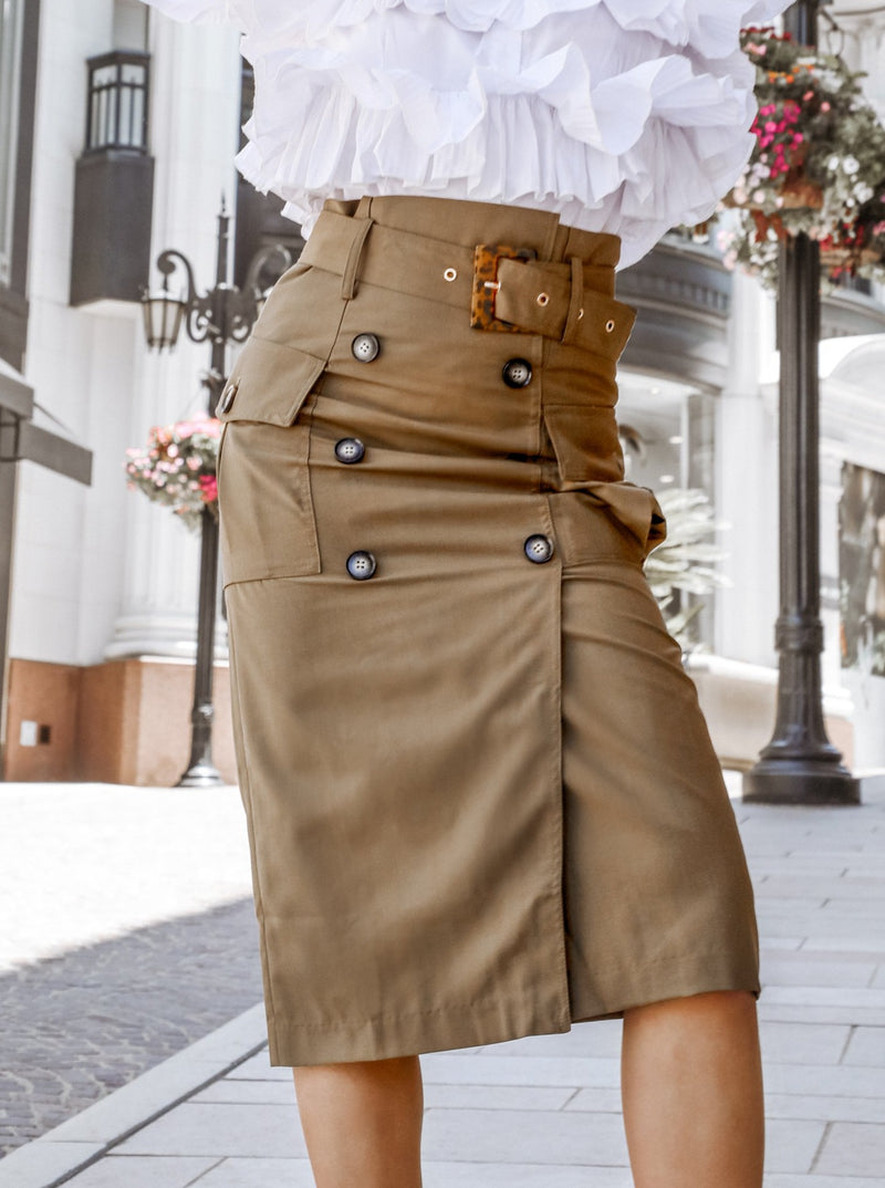 Buttoned Up in Style Midi Skirt Clothing M•USE Fashion