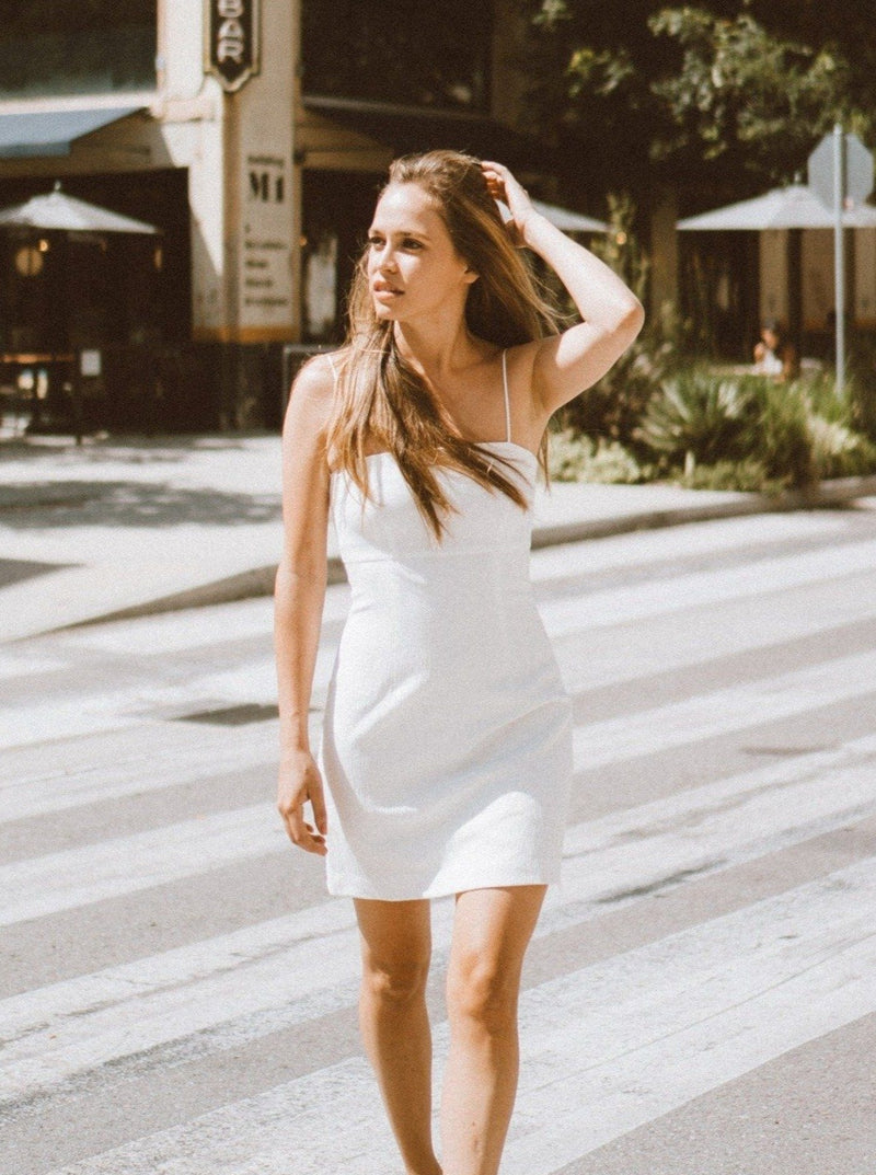Melody White Mini Dress Clothing M•USE Fashion