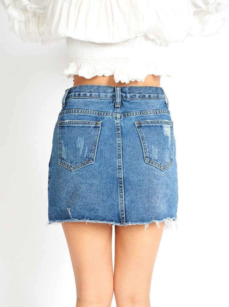 Amalia Ripped Denim Mini Skort Clothing m-usefashion