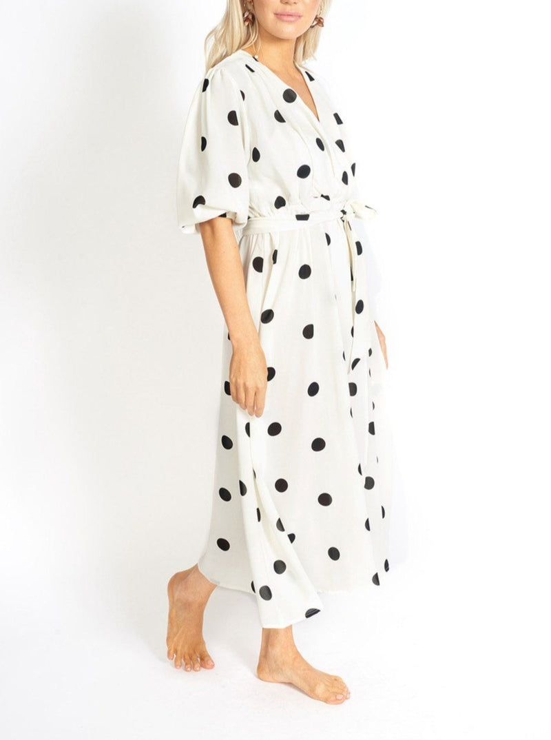 Athens Modest Cut Polka Dot Maxi Dress Clothing m-usefashion