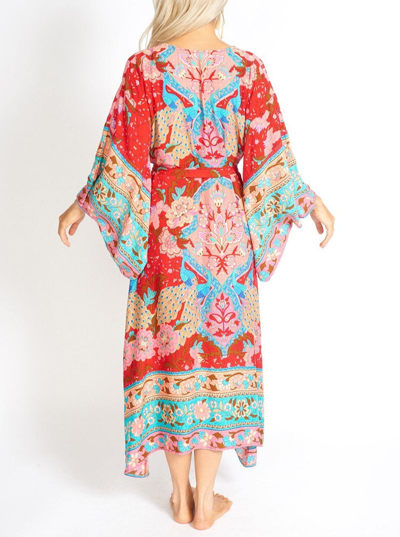 Ayaka Peacock Floral Maxi Kimon Style Dress Clothing m-usefashion