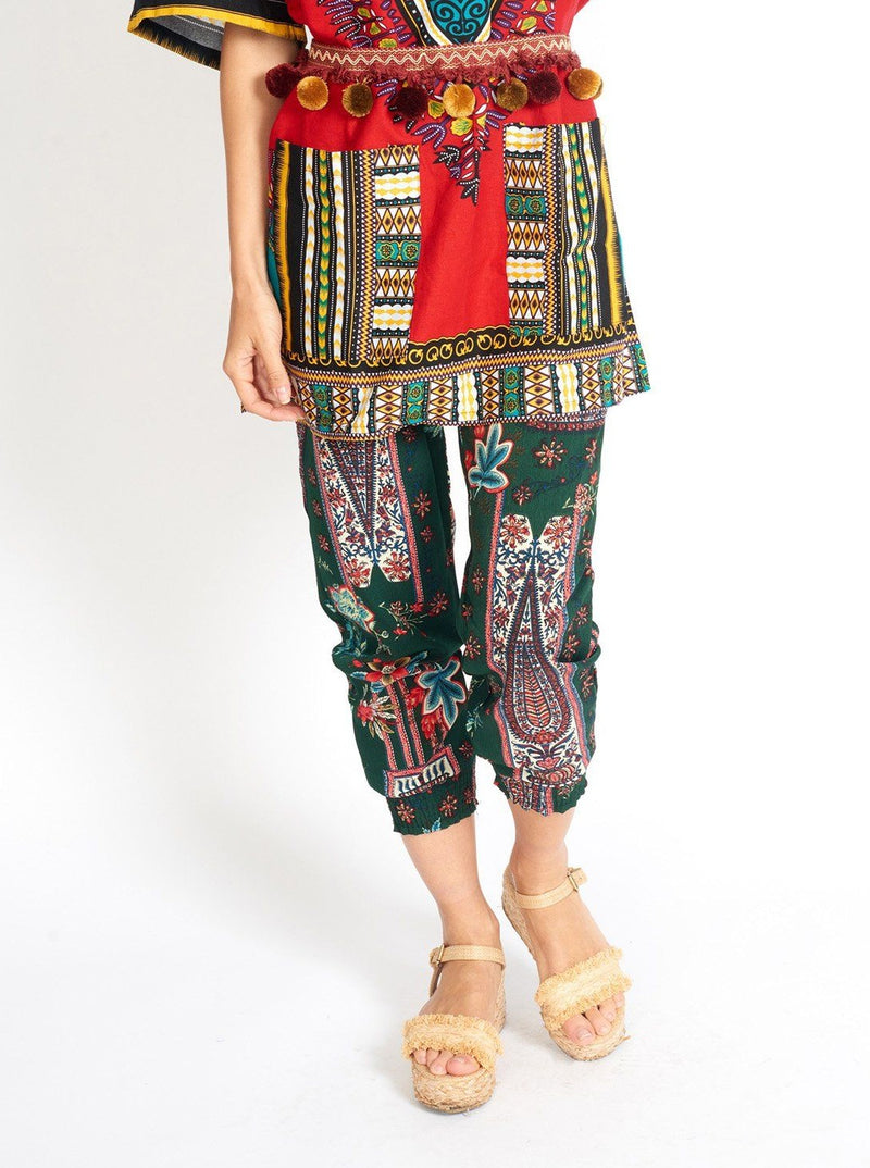 Boho Yoga Hippie Green Print Pants Clothing m-usefashion