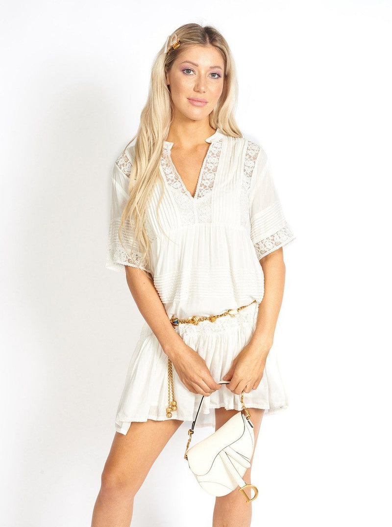 Bora Bora Lace and Cloth Short White Dress Clothing m-usefashion