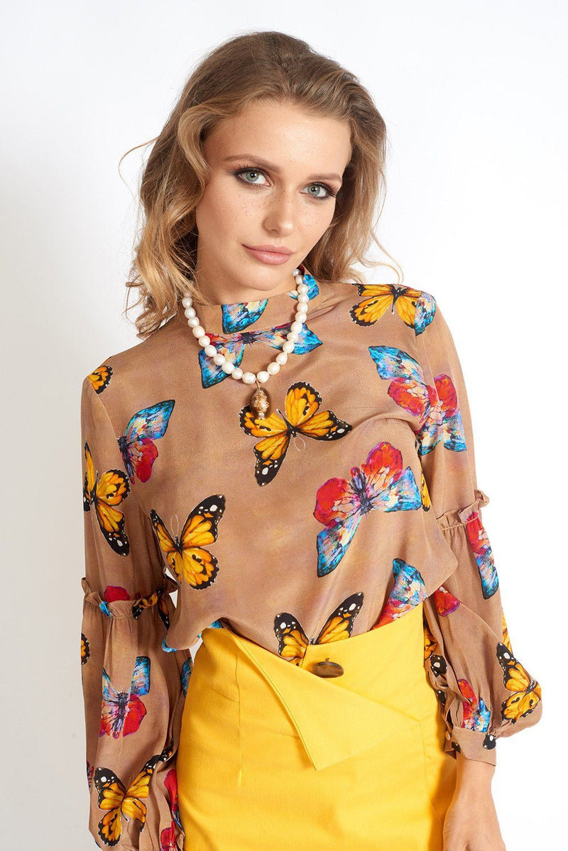 Butterfly's Desire 100% Silk Blouse Clothing m-usefashion