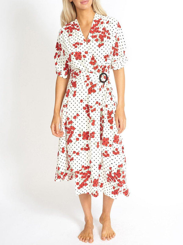 Cherry and Polka Dot Wrap Style Dress Clothing m-usefashion
