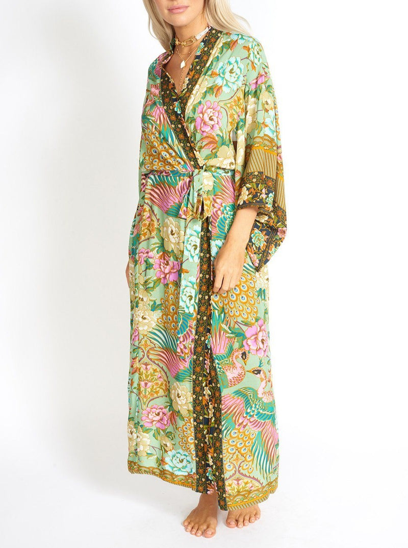 Chika Peacock Floral Kimono Style Robe Clothing m-usefashion