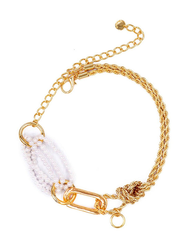 Chunky Gold and Pearl Choker Jewelry m-usefashion