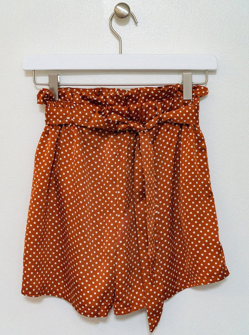Cloth Patterned Cinch Waist Shorts Clothing m-usefashion
