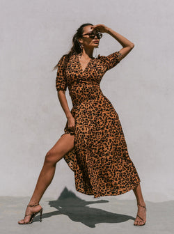 Margherita Leopard Print 50's Style Maxi Dress Clothing m-usefashion