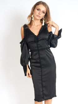 Night At The Museum Black Satin Dress Clothing m-usefashion