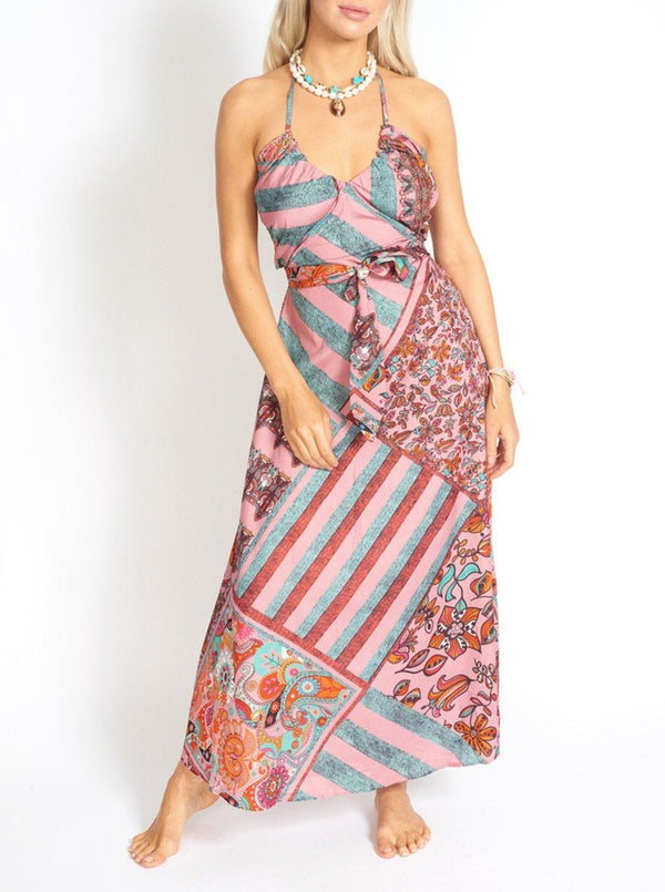 El Nido Halter Maxi Dress in Scarf Print Clothing m-usefashion