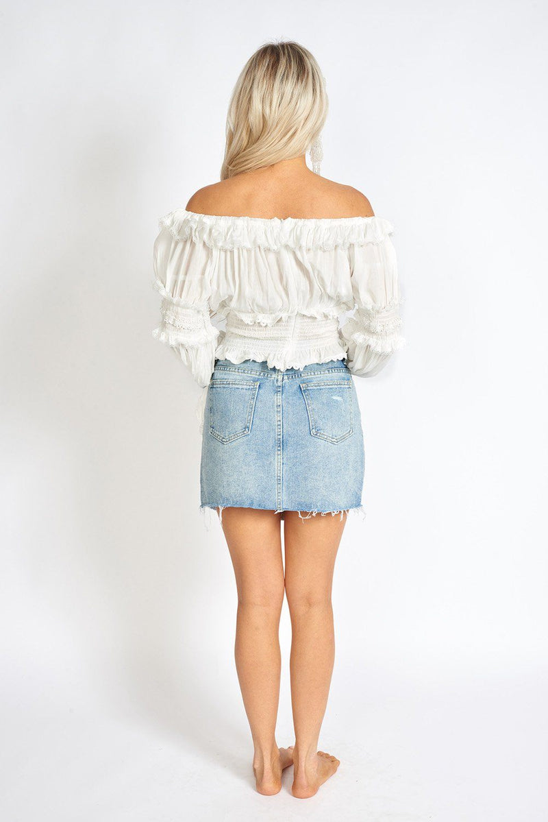Florencia Ruffled Lace Off Shoulder Boho Blouse Clothing m-usefashion