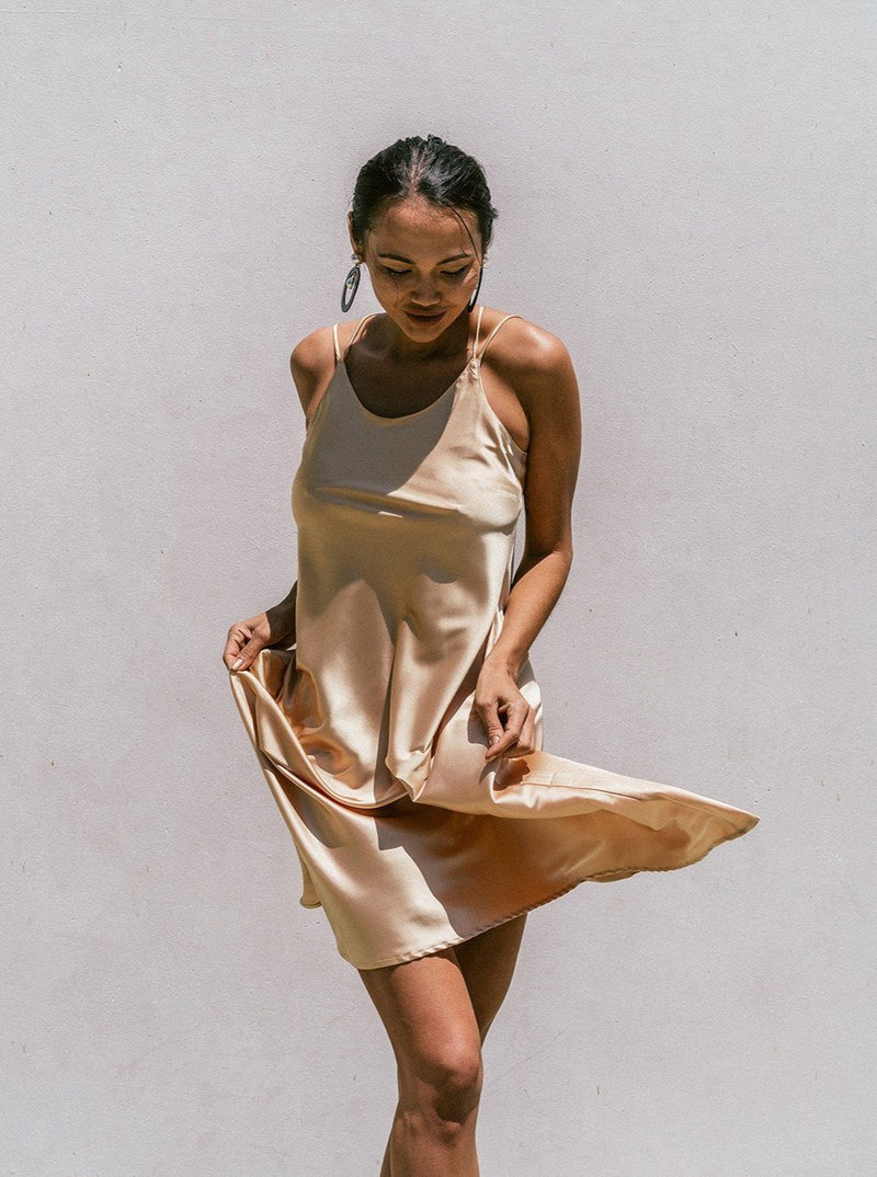 Florida Minimal Satin Slip Dress Clothing m-usefashion