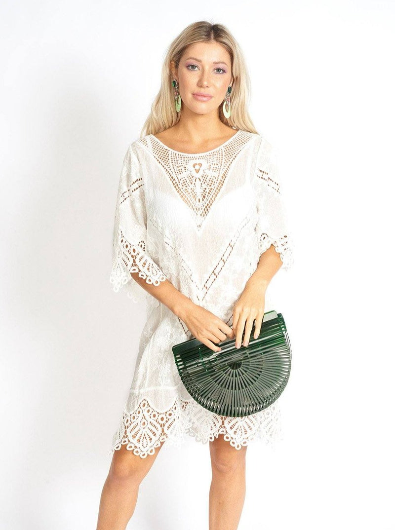 Koh Samui White Lace Cover-up Dress Clothing m-usefashion