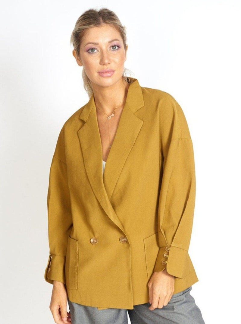 Lisa Business Casual Oversized Blazer Clothing m-usefashion XS Mustard Yellow