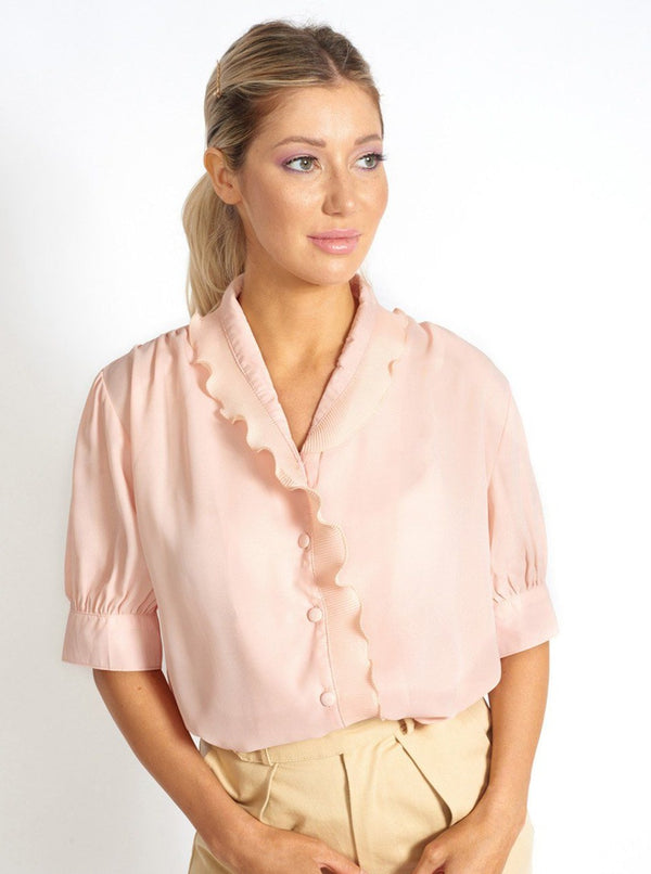Lou Collared Retro Chiffon Top Clothing m-usefashion