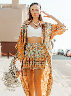 Mía Bohemian Floral Print Kimono Style Robe Clothing m-usefashion