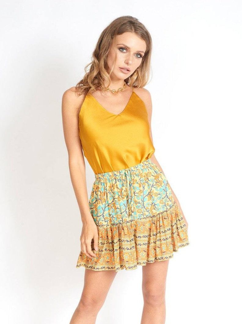 Mía Bohemian Floral Print Mini Skirt Clothing m-usefashion