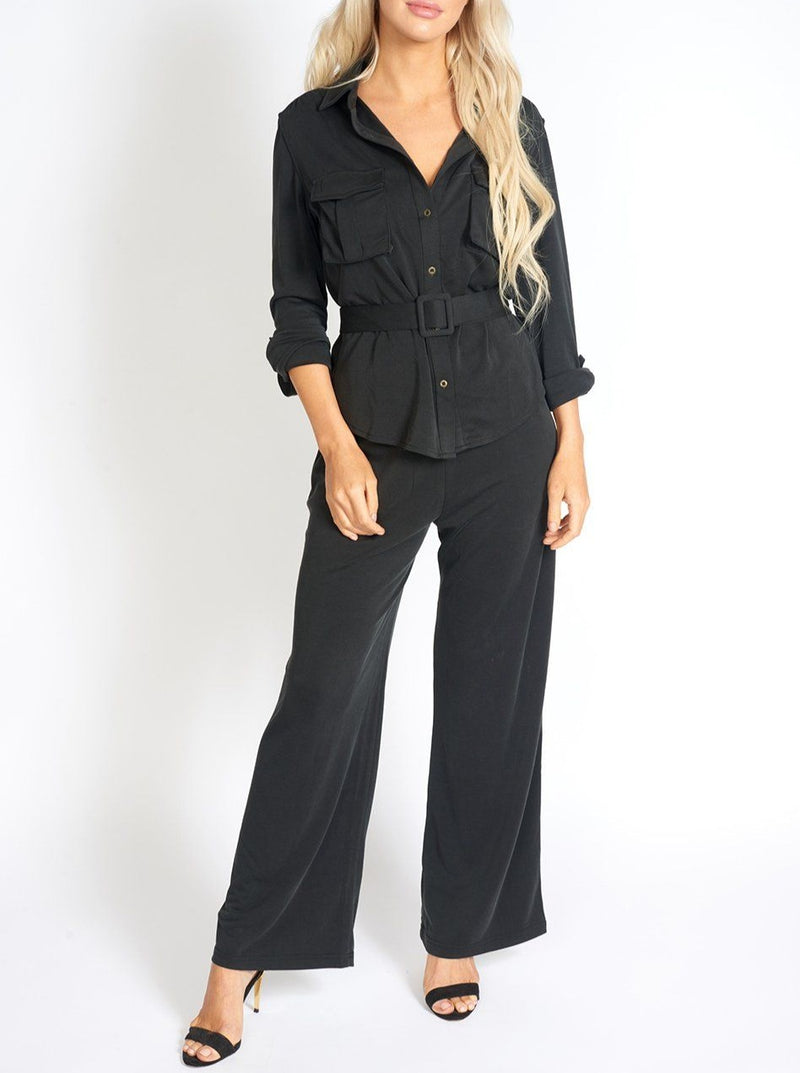 Office Day Easy Black Wide Leg Pants Clothing m-usefashion