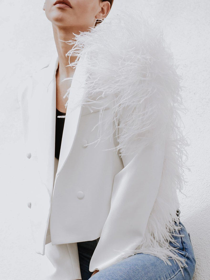 Lydia Ostrich Feather Blazer Clothing M•USE Fashion