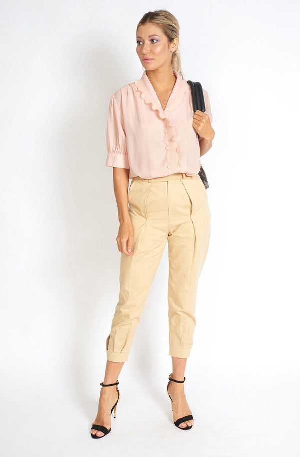 Pleated Beige Capri Pants Clothing m-usefashion