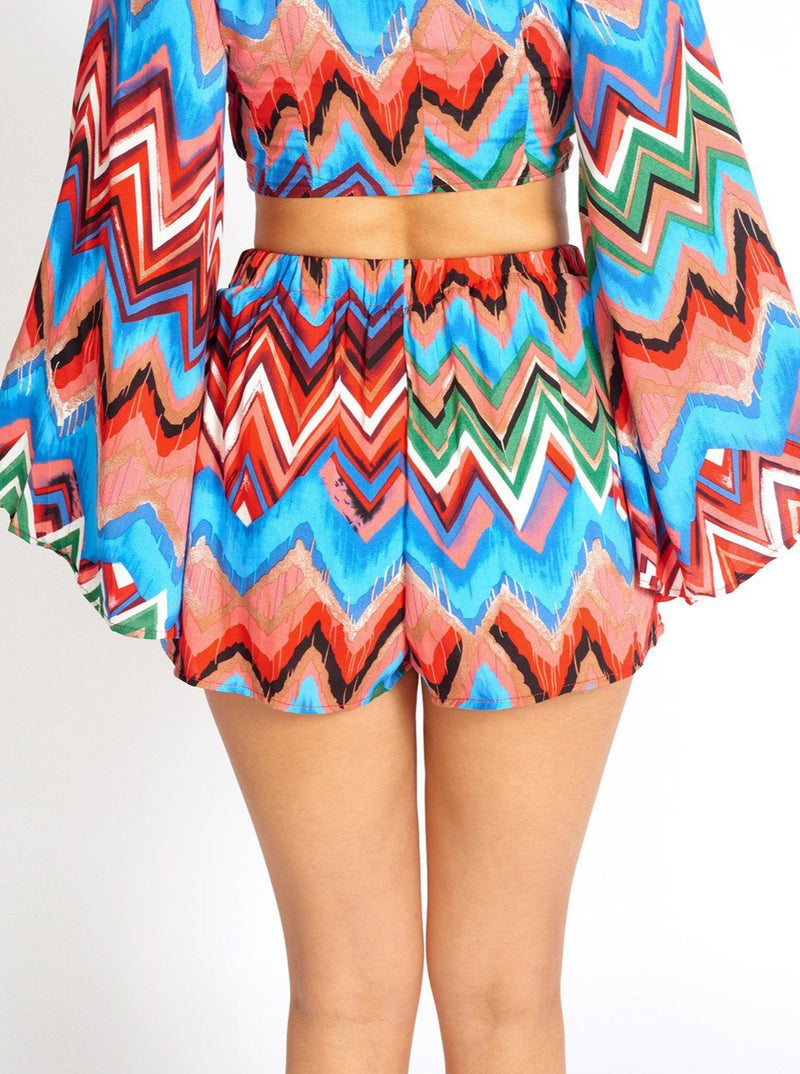 Rainbow Waves Bohemian Cloth Shorts Clothing m-usefashion