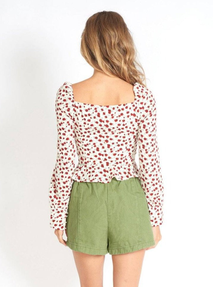 Rose Print Button Placket Cropped Blouse Clothing m-usefashion