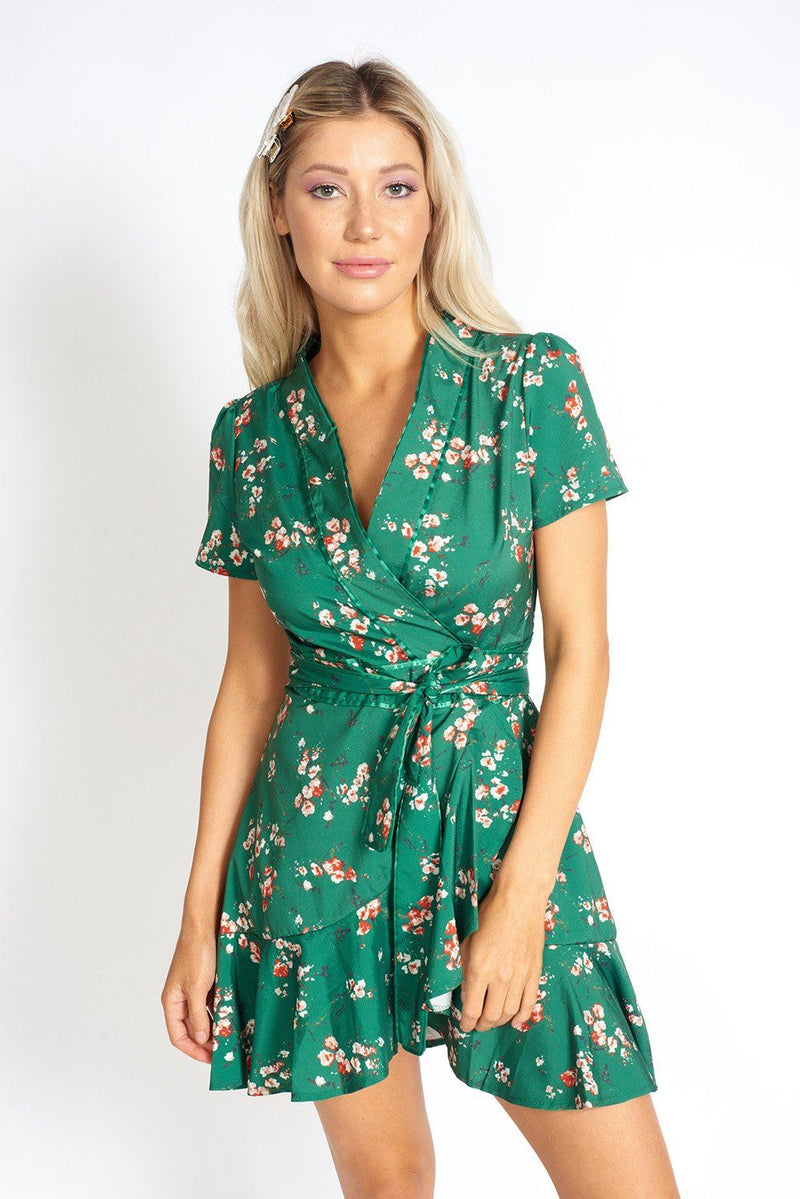 Sakura Emerald Side-Tie Mini Dress Clothing m-usefashion